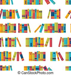 Colorful seamless pattern with books on bookshelves. Library, bookstore. Flat design