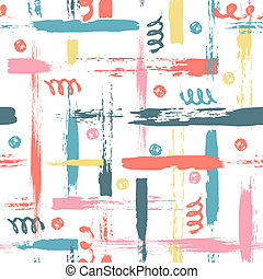 colorful seamless pattern with brush dots, strokes, circles...
