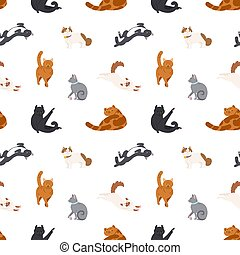 Colorful seamless pattern with cats of different breeds sleeping, walking, washing, stretching itself on white background. Vector illustration in flat cartoon style for wrapping paper, fabric print.