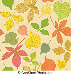 Colorful seamless pattern with hand-drawn leaves