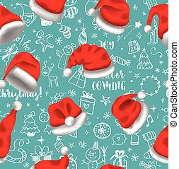 7b550ffc0e8ea Colorful seamless pattern with red santa hats on blue background with  doodles