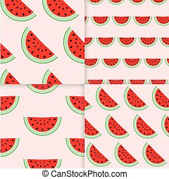 Colorful seamless patterns of watermelon slices. Vector...