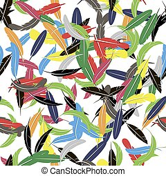 Colorful Seamless Random Feather Pattern
