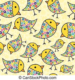Repeating Chick Background - Colorful Seamless Repeating...