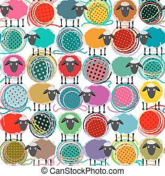 Colorful Seamless Sheep and Yarn Balls Pattern