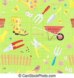 colorful seamless texture with collection of gardening tools and