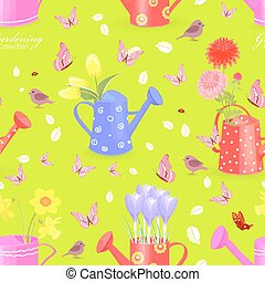 colorful seamless texture with fresh flowers in watering cans an
