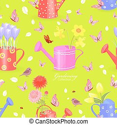 colorful seamless texture with lovely flowers in watering cans a