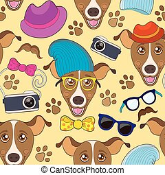 Colorful seamless vector pattern with funny cartoon hipster dog
