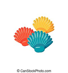 Colorful seashells icon, cartoon style