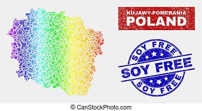 Colorful Service Kujawy-Pomerania Province Map and Grunge Soy Free Watermarks