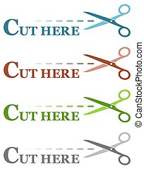 colorful set isolated dotted lines with scissors