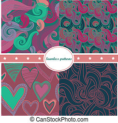 Colorful set of abstract seamless backgrounds