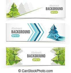 Colorful set of banners with Christmas tree