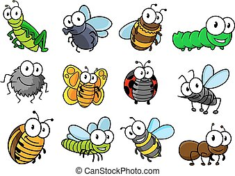 Colorful set of cartoon insects characters