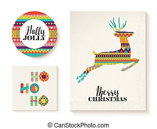Colorful set of christmas card templates with deer