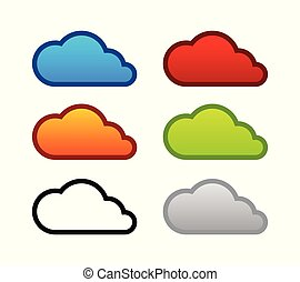 Colorful set of Cloud icons