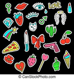Colorful set of doodle fashion patch badges