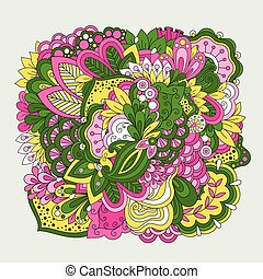 Colorful set of doodle flowers