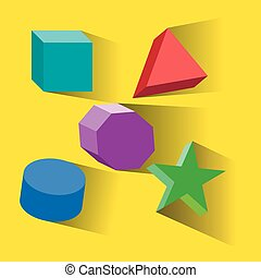 Colorful set of geometric shapes, platonic solids, vector illustration.