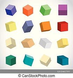 Ensemble coloré de formes géométriques, solides platoniques, ...