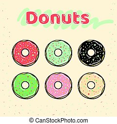 Colorful set of glazed donuts with caramel and sweets.