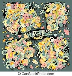 Colorful set of hippie doodles designs