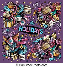Colorful set of holidays object - Colorful vector hand drawn...