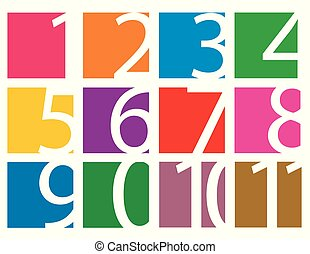 Colorful set of numbers isolated on white