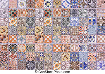 Colorful set of ornamental tiles , Seamless ceramic tiles wall and floor decoration patterns. used for wallpaper, pattern fills, textures.