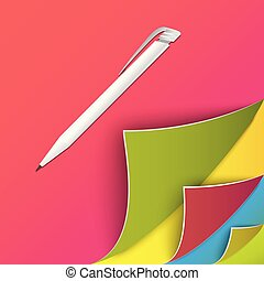 Colorful set of page with round corners. Realistic vector. Flip the page concept.