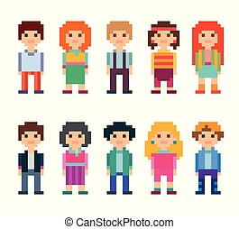 Colorful set of pixel art style characters.