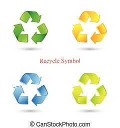 Colorful set of recycle signs. Vector illustration