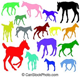 Colorful Set of silhouettes of foals