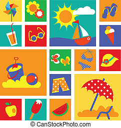 colorful set of summer icons. happy holidays
