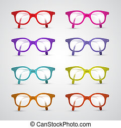 Colorful Set of Vector Glasses Isolated on Grey Background