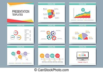 Colorful set of vector templates for multipurpose presentation slides. Modern business flat design with graphs and chart. Leaflet marketing advertising