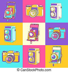 colorful set of vintage cameras