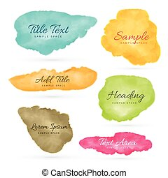 colorful set of watercolor stain vectors