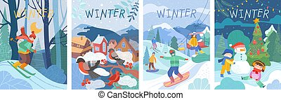 Colorful set of winter scene cards with kids and snowman, ski resort, village with robins on a tree, and young person skiing through a forest in winter