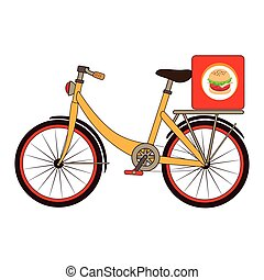 colorful set with bicycle and box for fast food