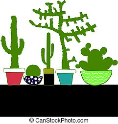 Colorful set with cactus in pot