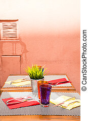 Colorful Setting on Outdoor Table