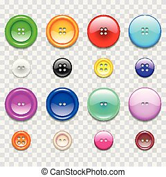 Colorful sewing buttons icons photo realistic vector set