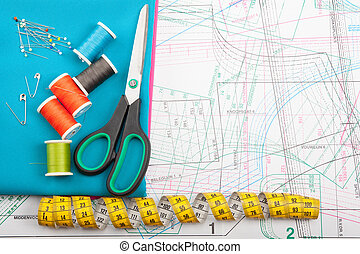 Colorful sewing concept