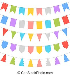 Colorful Shape of Bunting Set on White Background. Vector