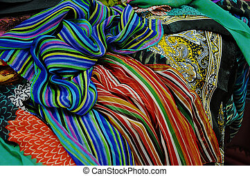Colorful shawls and scarves from India
