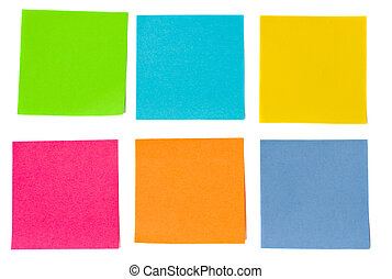 colorful sheets of paper isolated on white background