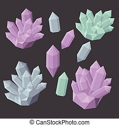 Colorful shiny bright crystals. Polygon stone mineral and poly shape rocks. Emerald crystal, ruby crystal, tourmaline crystal, quartz crystal, diamond crystal isolated
