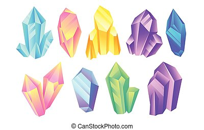 Colorful Shiny Bright Crystals Vector Set. Polygon Stone Minerals and Poly Shape Rocks